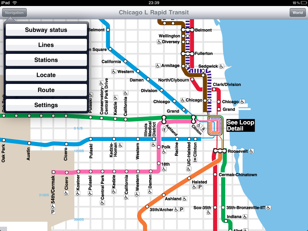 Transit Chicago Map.Chicago L Rapid Transit Application For Ipad