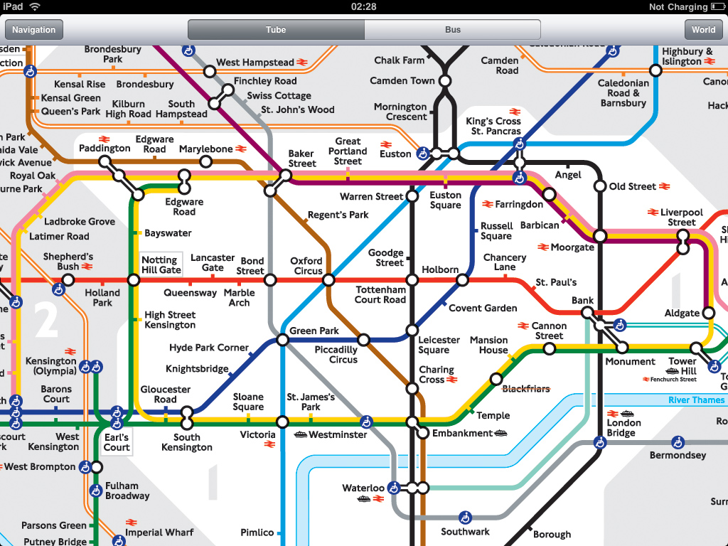 London Tube application for iPad on