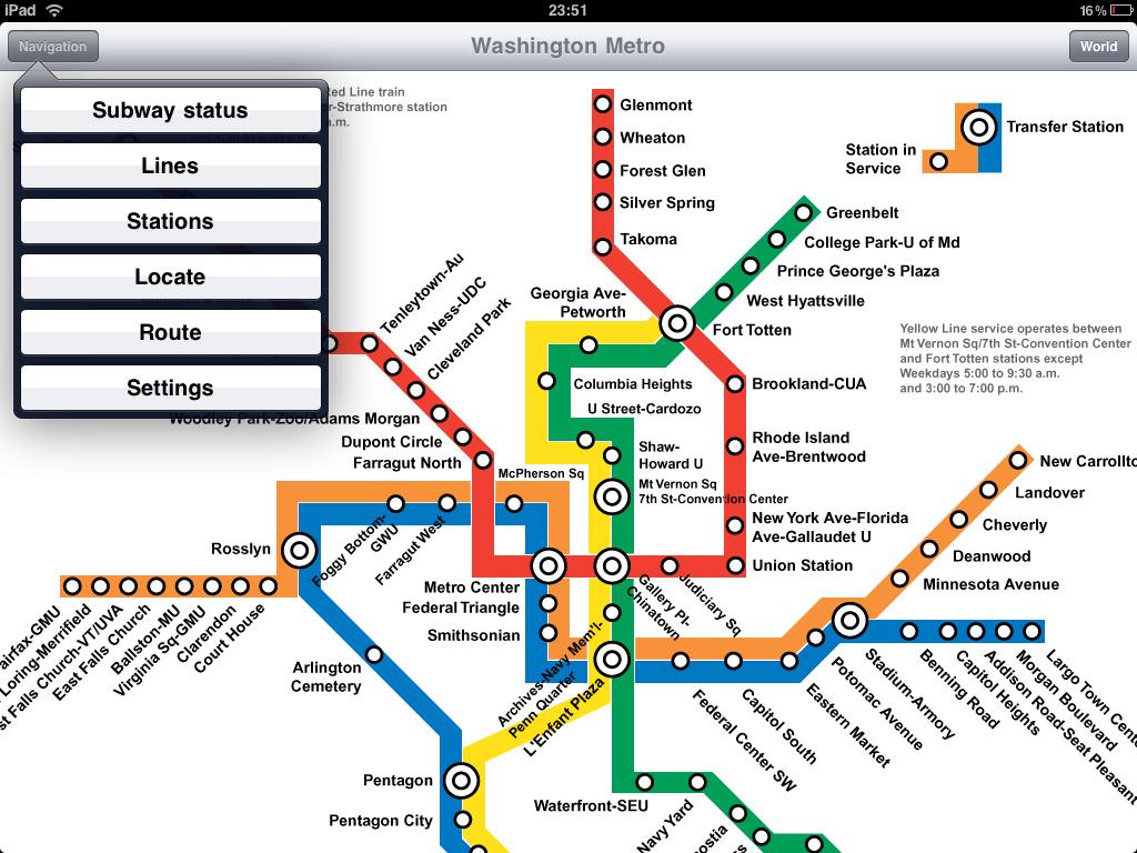 picture regarding Printable Washington Dc Metro Map identified as Washington Metro computer software for iPad